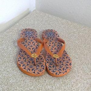 Tory Burch Orange Rubber Flip Flops